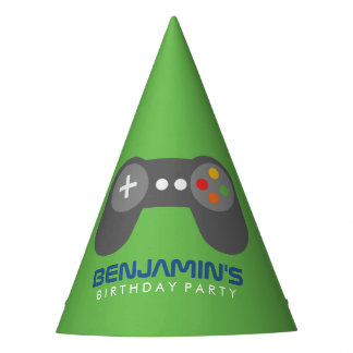 Green Video Game Controller Kids Birthday Party Hat