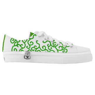 Green Vine Swirl Design shoes Printed Shoes