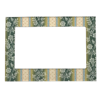 Green Vines Leaves Pattern Stripes Greenery Leaf Picture Frame Magnet