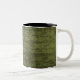 Green Vines & Stripes Pattern Two-Tone Mug