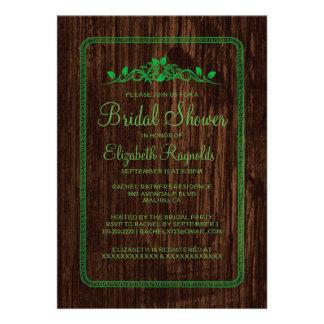 Green Vintage Barn Wood Bridal Shower Invitations Personalized Invites