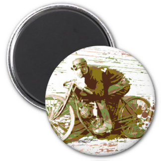 Green Vintage Board Track Motorcycle 6 Cm Round Magnet