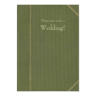 Green Vintage Book Wedding Invitation