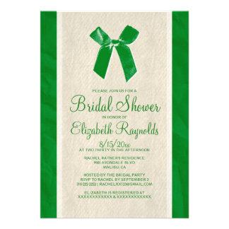 Green Vintage Bow Linen Bridal Shower Invitations Invites