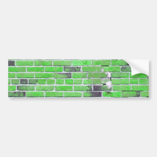Green Vintage Brick Wall Texture Bumper Stickers