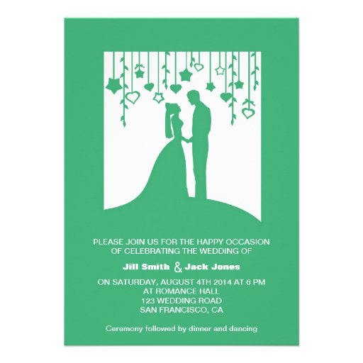 Green Vintage bride and groom silhouette wedding Invitation