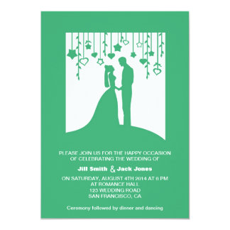 "Green Vintage bride and groom silhouette wedding 5"" X 7"" Invitation Card"