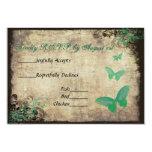 Green Vintage Butterfly Wedding RSVP Card Custom Invite