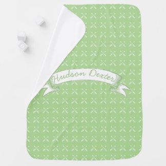 Green Vintage Chalkboard Arrows Lil' Man Baby Blanket
