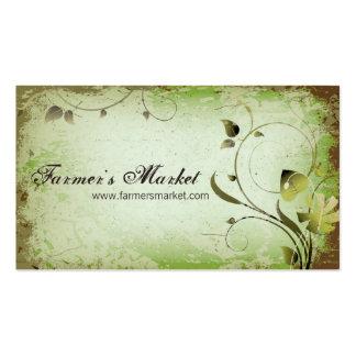 Green Vintage Farmer's Market Leafy Business Card