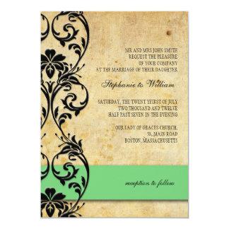 Green Vintage Floral Swirl Wedding Invitation