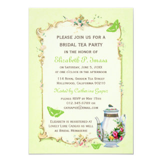 Green Vintage French Bridal Tea Party 13 Cm X 18 Cm Invitation Card