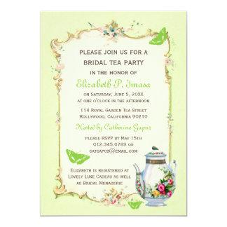 Green Vintage French Bridal Tea Party 13 Cm X 18 Cm Invitation Card
