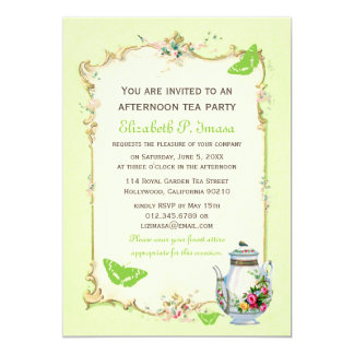 Green Vintage French Tea Party 13 Cm X 18 Cm Invitation Card