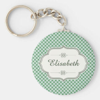 Green vintage gingham calligraphy name basic round button key ring