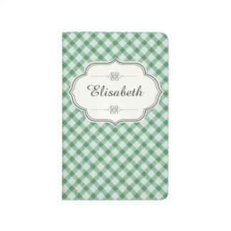 Green vintage gingham calligraphy name journal