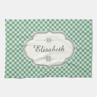 Green vintage gingham calligraphy name kitchen towels