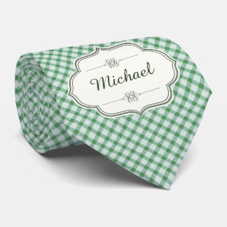 Green vintage gingham calligraphy name woman's tie