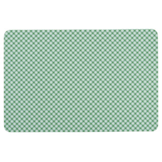 Green vintage gingham floor mat