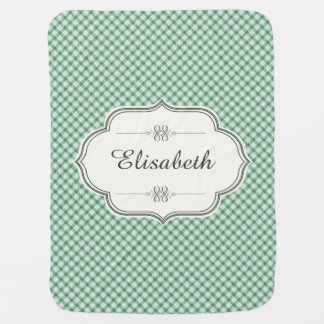 Green vintage gingham name baby pram blanket