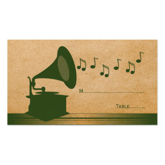 Green Vintage Gramophone Place Card Business Card