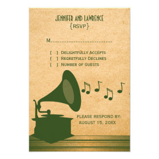 Green Vintage Gramophone Response Card Invitations