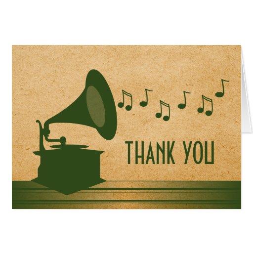 Green Vintage Gramophone Thank You Card