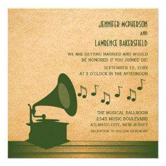 Green Vintage Gramophone Wedding Invite