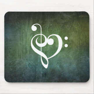 Green Vintage Grunge Treble & Bass Clef Heart Mouse Mat