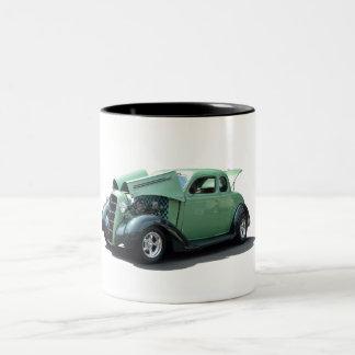Green Vintage Hot Rod. Two-Tone Coffee Mug