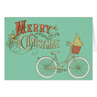 Green Vintage Merry Christmas Bicycle Greeting Card