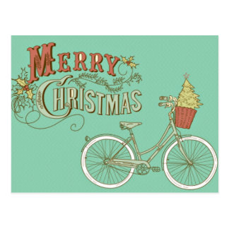 Green Vintage Merry Christmas Bicycle Postcard
