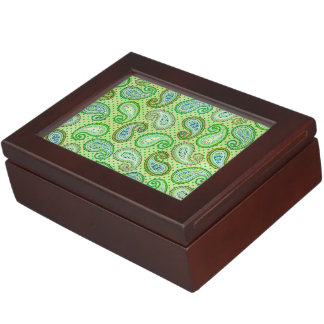 Green Vintage Pattern Texture Keepsake Box