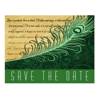 Green Vintage Peacock Wedding Save the Date Cards Postcard