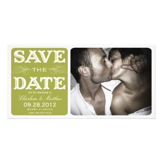 GREEN VINTAGE  | SAVE THE DATE ANNOUNCEMENT PERSONALIZED PHOTO CARD