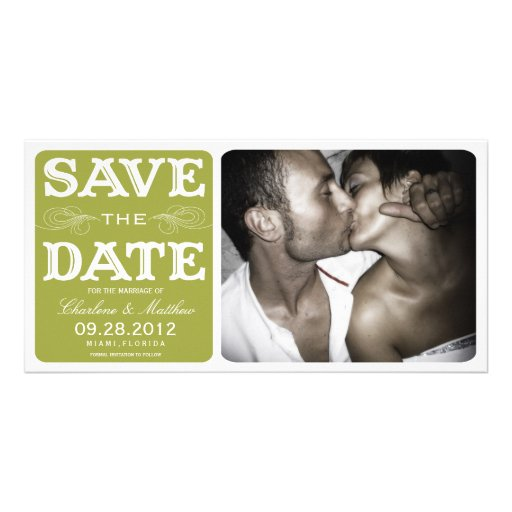 GREEN VINTAGE  | SAVE THE DATE ANNOUNCEMENT PHOTO CARD TEMPLATE