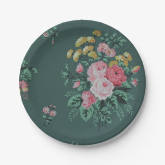 Green vintage wallpaper paper plates 7 inch paper plate