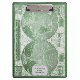 Green Vintage World Map Personalized Clipboards