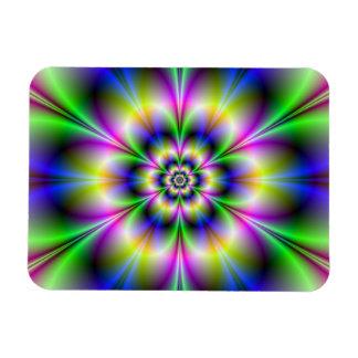 Green Violet and Blue Flower Photo Magnet