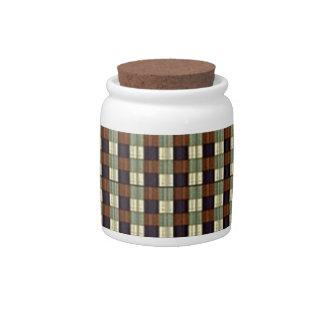 Green Violet Square Pattern. Geometric Design Candy Jars