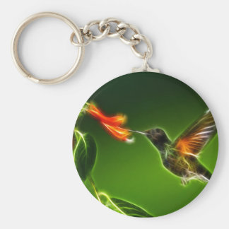 Green Violetear Hummingbird Basic Round Button Key Ring
