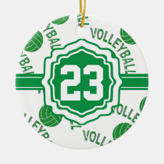 Green Volleyball Christmas Ornament