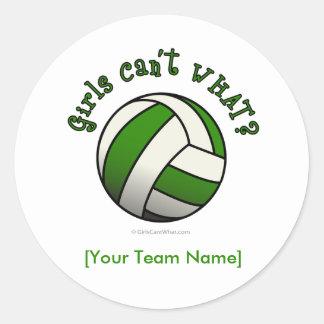 Green Volleyball Classic Round Sticker