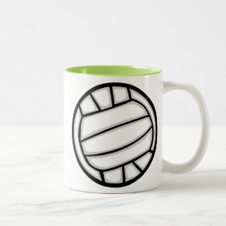 Green Volleyball Two-Tone Coffee Mug