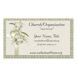 Green w Gold Cross Hearts Flowers Business Cards