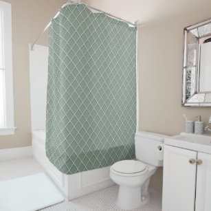 Green Waffle Pattern Shower Curtain