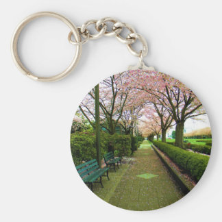 Green Walk Basic Round Button Key Ring