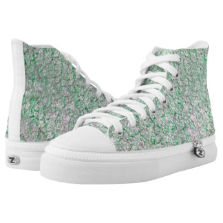 Green wall background high tops