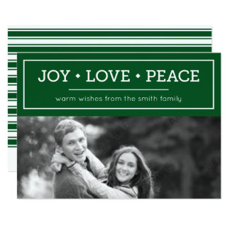 Green Warm Wishes Joy Love Peace Holiday Photo 13 Cm X 18 Cm Invitation Card