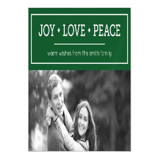 Green Warm Wishes Joy Love Peace Holiday Photo Magnetic Invitations